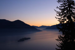 Ηλιοβασίλεμα πέρα από τα δέντρα και τις λίμνες πεύκων Στοκ Εικόνες
