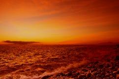 Ηλιοβασίλεμα πέρα από την ακτή του Ατλαντικού Ωκεανού Στοκ Φωτογραφίες