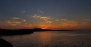 Ηλιοβασίλεμα πέρα από την ακτή Sinemorets, Βουλγαρία Στοκ εικόνες με δικαίωμα ελεύθερης χρήσης