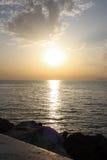Ηλιοβασίλεμα πέρα από την ιόνια θάλασσα Στοκ Φωτογραφία