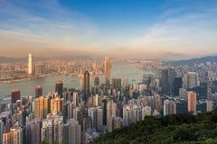 Ηλιοβασίλεμα πέρα από την κεντρική επιχείρηση πόλεων Χονγκ Κονγκ κεντρικός Στοκ φωτογραφίες με δικαίωμα ελεύθερης χρήσης