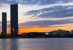 Ηλιοβασίλεμα πέρα από την πόλη του Μαϊάμι στη Φλώριδα, ΗΠΑ Στοκ φωτογραφία με δικαίωμα ελεύθερης χρήσης