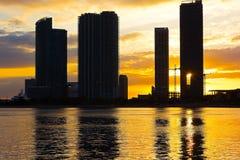 Ηλιοβασίλεμα πέρα από την πόλη του Μαϊάμι Στοκ Εικόνα