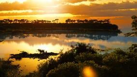 Ηλιοβασίλεμα πέρα από την όμορφη περιοχή λιμνών Στοκ Εικόνες