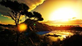 Ηλιοβασίλεμα πέρα από την όμορφη περιοχή λιμνών Στοκ εικόνες με δικαίωμα ελεύθερης χρήσης