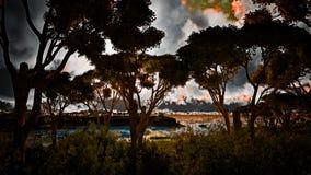 Ηλιοβασίλεμα πέρα από την όμορφη περιοχή λιμνών Στοκ εικόνα με δικαίωμα ελεύθερης χρήσης