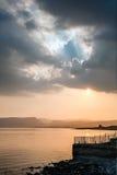 Ηλιοβασίλεμα πέρα από τη θάλασσα Galilee στοκ φωτογραφία