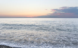 Ηλιοβασίλεμα πέρα από τη Μαύρη Θάλασσα σε Batumi στοκ εικόνες