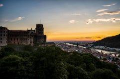 Ηλιοβασίλεμα πέρα από τη Χαϋδελβέργη Στοκ εικόνα με δικαίωμα ελεύθερης χρήσης