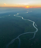 Ηλιοβασίλεμα πέρα από τον ποταμό Kafue στοκ εικόνες με δικαίωμα ελεύθερης χρήσης