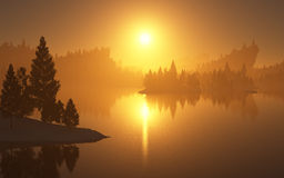 Ηλιοβασίλεμα πέρα από το δάσος Στοκ εικόνες με δικαίωμα ελεύθερης χρήσης