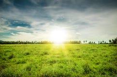 Ηλιοβασίλεμα πέρα από το αγρόκτημα Στοκ Εικόνες
