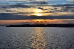 Ηλιοβασίλεμα πέρα από το Ελσίνκι Στοκ Εικόνες