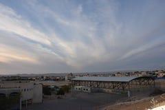 Ηλιοβασίλεμα πέρα από το χωριό του BA Negev, Ισραήλ Arara Στοκ φωτογραφίες με δικαίωμα ελεύθερης χρήσης