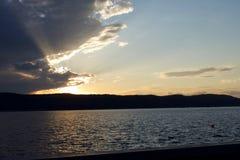 Ηλιοβασίλεμα πέρα από το Hudson Στοκ Εικόνα