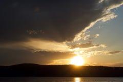Ηλιοβασίλεμα πέρα από το Hudson Στοκ Εικόνες