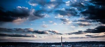 Ηλιοβασίλεμα πέρα από Suceava Στοκ εικόνες με δικαίωμα ελεύθερης χρήσης