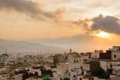 Ηλιοβασίλεμα πέρα από Tetouan, Μαρόκο Στοκ εικόνα με δικαίωμα ελεύθερης χρήσης