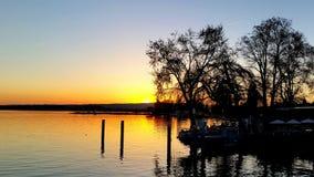 Ηλιοβασίλεμα πέρα από Zugersee Στοκ Εικόνες