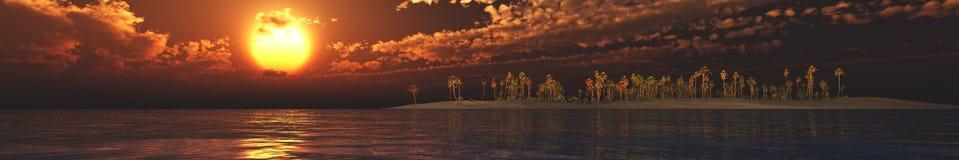 Ηλιοβασίλεμα πανοράματος πέρα από ένα τροπικό νησί Στοκ εικόνες με δικαίωμα ελεύθερης χρήσης
