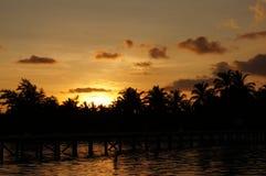 Ηλιοβασίλεμα παραλιών νησιών των Μαλδίβες Στοκ Εικόνα