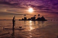 Ηλιοβασίλεμα 3 παραλιών Boracay Στοκ Φωτογραφίες