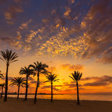 Ηλιοβασίλεμα παραλιών sArenal EL Arenal Majorca κοντά σε Palma Στοκ φωτογραφίες με δικαίωμα ελεύθερης χρήσης