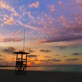Ηλιοβασίλεμα παραλιών sArenal EL Arenal Majorca κοντά σε Palma Στοκ εικόνα με δικαίωμα ελεύθερης χρήσης