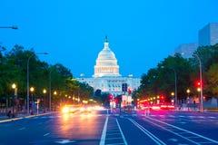 Ηλιοβασίλεμα Πενσυλβανία Ave Washington DC Capitol Στοκ φωτογραφία με δικαίωμα ελεύθερης χρήσης
