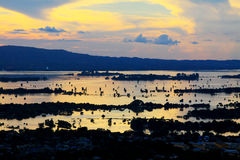 Ηλιοβασίλεμα ποταμών του Mandalay Irrawaddy, το Μιανμάρ στοκ εικόνες με δικαίωμα ελεύθερης χρήσης