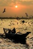 Ηλιοβασίλεμα ποταμών Yangon Στοκ Φωτογραφία