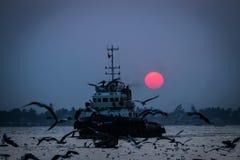 Ηλιοβασίλεμα ποταμών Yangon Στοκ Εικόνες