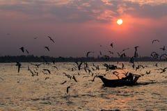 Ηλιοβασίλεμα ποταμών Yangon Στοκ Εικόνα