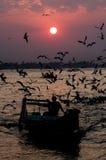 Ηλιοβασίλεμα ποταμών Yangon Στοκ Φωτογραφίες