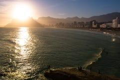 Ηλιοβασίλεμα Ρίο ντε Τζανέιρο Στοκ Φωτογραφίες