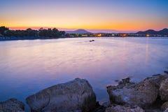 Ηλιοβασίλεμα Ρόδος Faliraki στοκ εικόνες