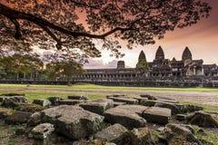 Ηλιοβασίλεμα σε Angkor Wat Στοκ εικόνες με δικαίωμα ελεύθερης χρήσης