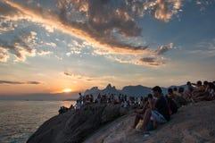 Ηλιοβασίλεμα σε Arpoador Στοκ εικόνες με δικαίωμα ελεύθερης χρήσης