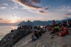 Ηλιοβασίλεμα σε Arpoador Στοκ φωτογραφία με δικαίωμα ελεύθερης χρήσης