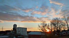 Ηλιοβασίλεμα σε Atchison Κάνσας στοκ φωτογραφία