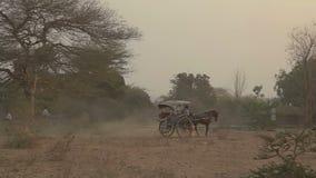 Ηλιοβασίλεμα σε Bagan με ένα κάρρο αλόγων απόθεμα βίντεο