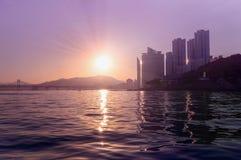 Ηλιοβασίλεμα σε Busan Στοκ Εικόνες