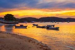 Ηλιοβασίλεμα σε Buzios de janeiro Ρίο Στοκ φωτογραφίες με δικαίωμα ελεύθερης χρήσης