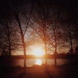 Ηλιοβασίλεμα σε Greenlake Στοκ Φωτογραφίες