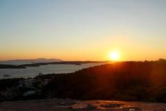 Ηλιοβασίλεμα σε Hvar, Κροατία Στοκ Εικόνες