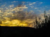 Ηλιοβασίλεμα σε Juslibol κοντά σε Σαραγόσα Στοκ Εικόνες