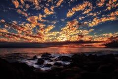 Ηλιοβασίλεμα σε Maui, Χαβάη στοκ εικόνες