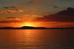 Ηλιοβασίλεμα σε Pelion Ελλάδα Στοκ Φωτογραφίες