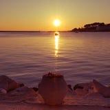 Ηλιοβασίλεμα σε Porec, Κροατία Στοκ Εικόνες