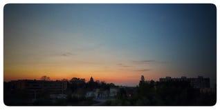 Ηλιοβασίλεμα σε Riesa Στοκ Φωτογραφίες